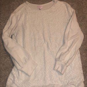 Lace fleece sweatshirt maternity